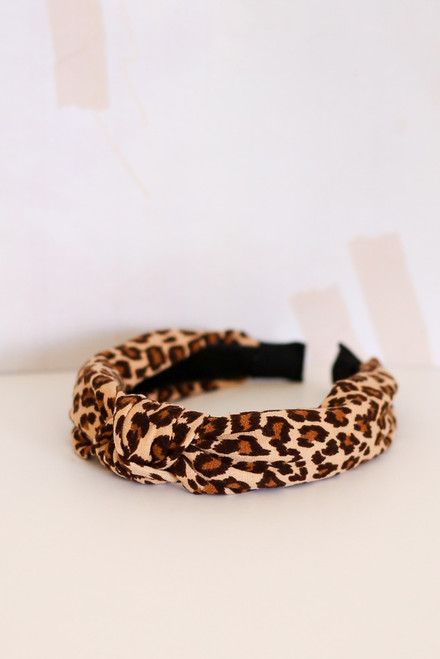 Taupe - Leopard Print Knotted Headband from Dress Up