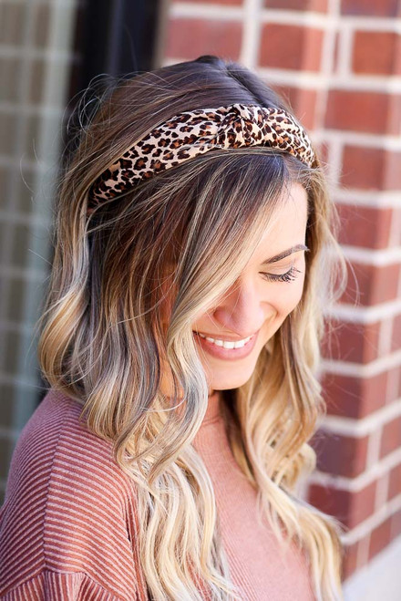Taupe - Leopard Print Knotted Headband