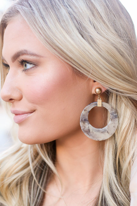 Grey - Acrylic Statement Earrings from Dress Up
