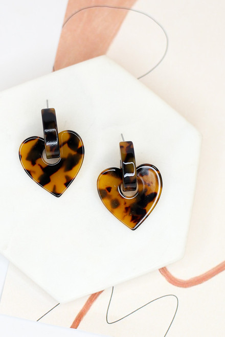 Tortoise - Heart Earrings from Dress Up Boutique