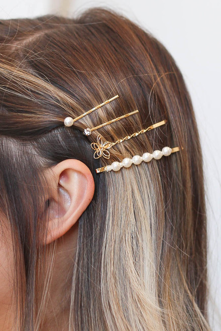 Gold - Pearl Bobby Pin Set from Dress Up