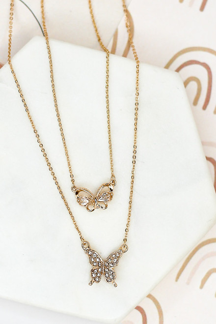 Gold - Rhinestone Butterfly Layered Necklace