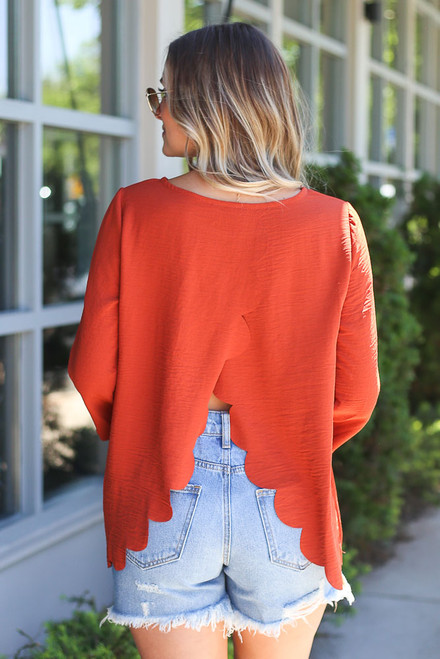 Rust - Scalloped Open Back Blouse Back View