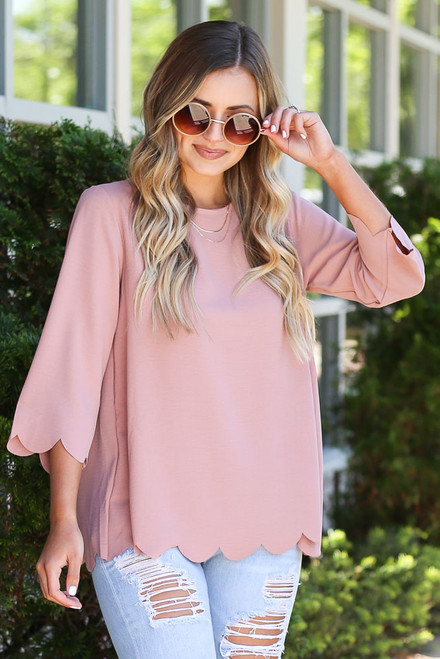 Blush - Model wearing the Scalloped Open Back Blouse