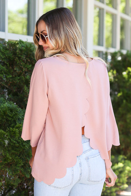 Blush - scalloped open back blouse at dress up