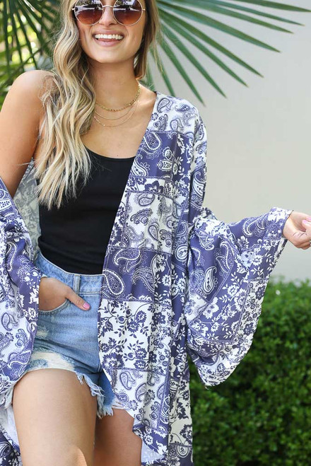 Ivory - Bell Sleeve Printed Kimono Detail View