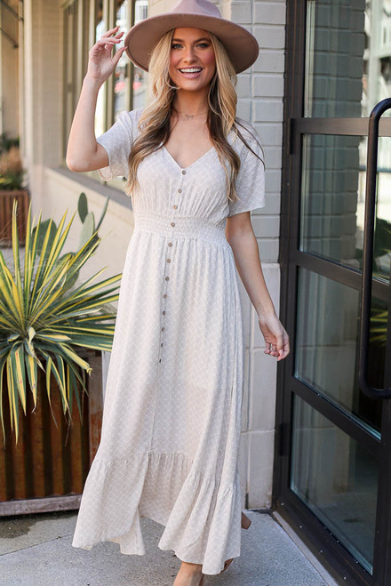 Taupe - Ruffle Hem Maxi Dress