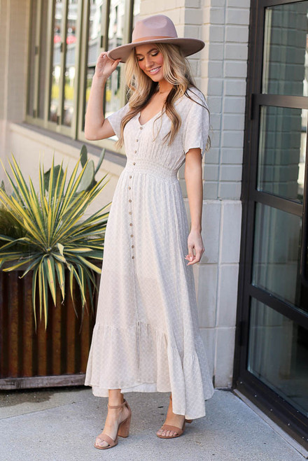 Taupe - Ruffle Hem Maxi Dress from Dress Up