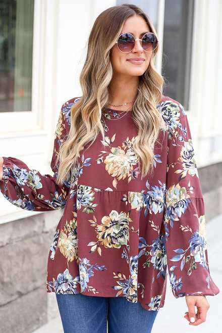 Wine - Floral Balloon Sleeve Babydoll Top