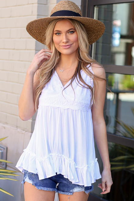 White - Lace Tie-Back Tank