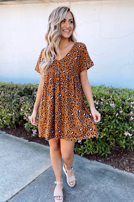 Camel - Leopard Babydoll Dress from online dress boutique