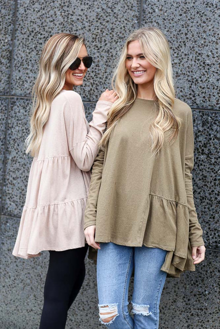 Taupe - Oversized Tiered Back Top from Dress Up