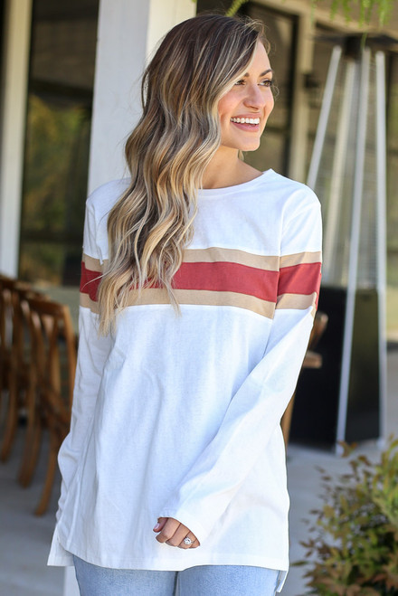 White - Oversized Striped Tee