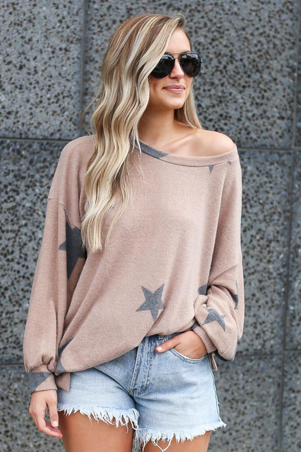 Mocha - Star Brushed Knit Oversized Pullover