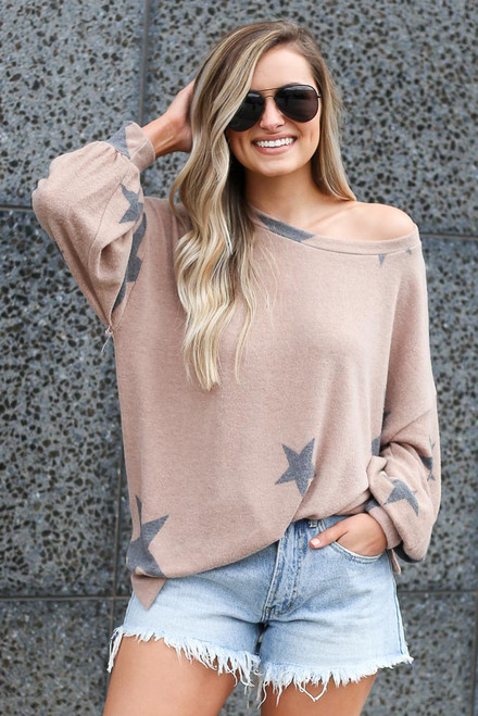 Mocha - Star Brushed Knit Oversized Pullover from Dress Up