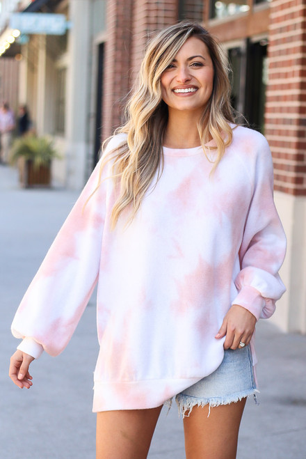 Peach - Brushed Knit Oversized Tie-Dye Pullover from Dress Up