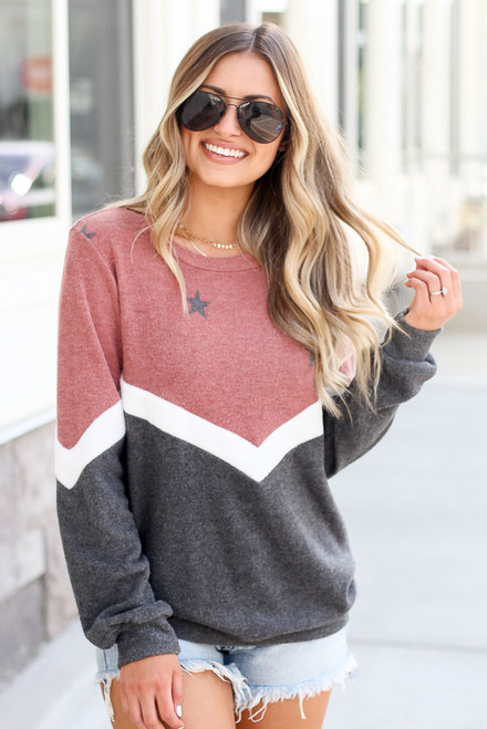 Red - Star Color Block Pullover from Dress Up