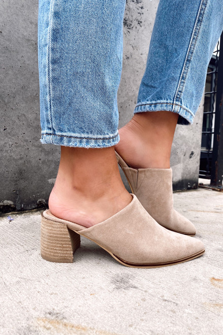 Taupe - Block Heeled Mules on Model