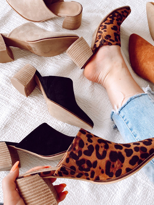 Black - Block Heeled Mules
