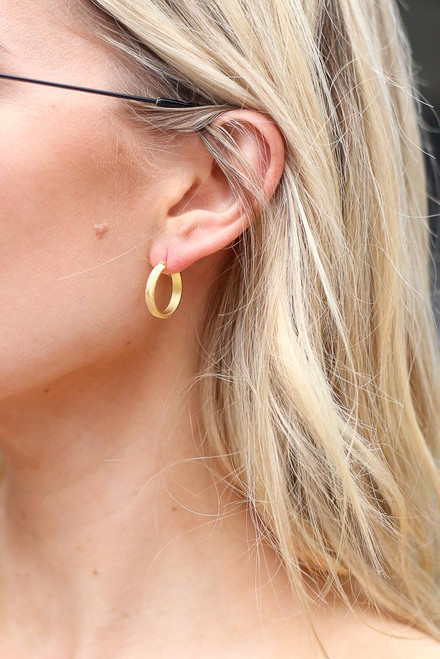 Gold - Textured Mini Hoop Earrings from Dress Up