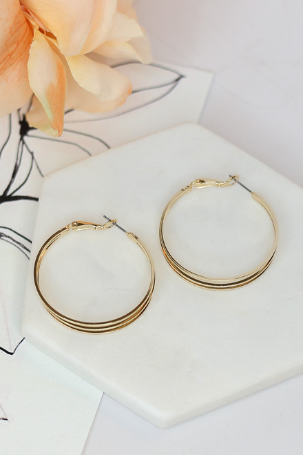 Gold - Layered Hoop Earrings from Dress Up