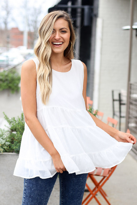 White - Tiered Swiss Dot Tank Top