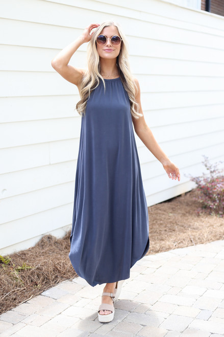 Charcoal - High Neck Maxi Dress from Dress Up Boutique
