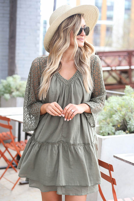 Olive - Lace Contrast Babydoll Dress