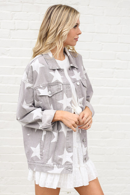 Grey - Star Print Oversized Denim Jacket from Dress Up