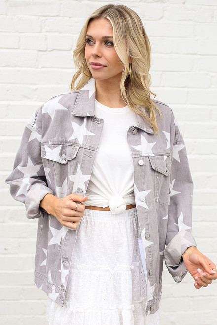 Kirsten Star Print Oversized Denim Jacket