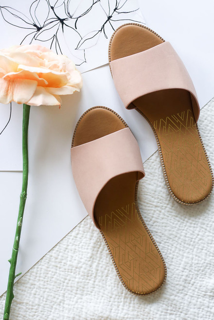 Blush - Asymmetrical Slip On Sandals from Dress Up
