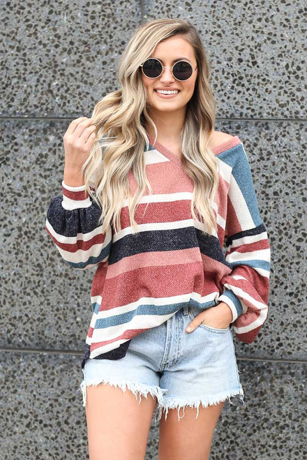 Multi - Tucked Striped Soft Knit Top