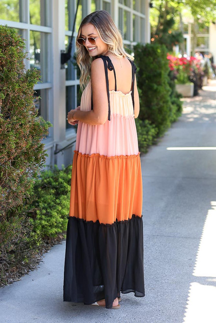Peach - tiered color block maxi dress
