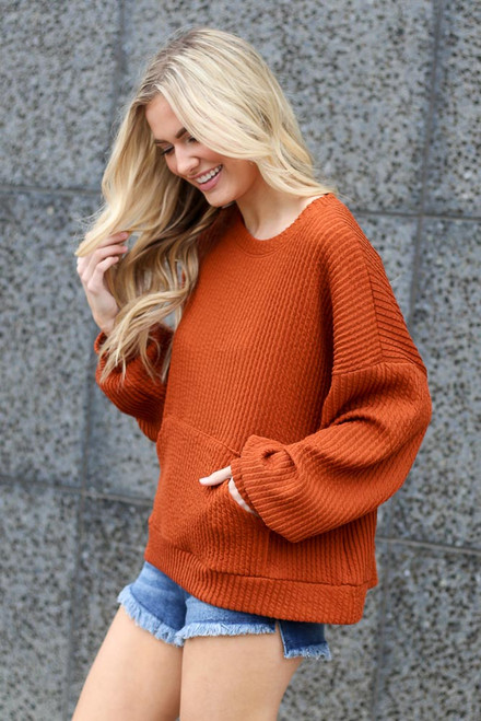 Rust - cute ribbed knit pullover