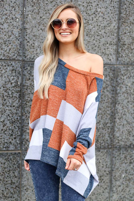 Navy - lightweight knit oversized top at dress up