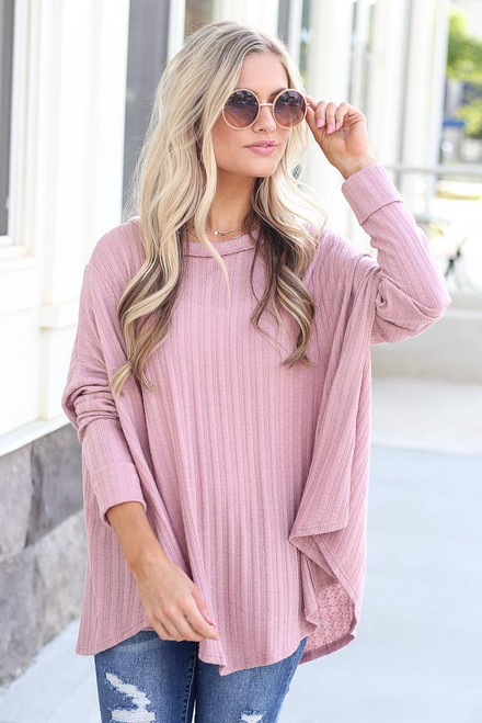 Blush - lightweight knit oversized top