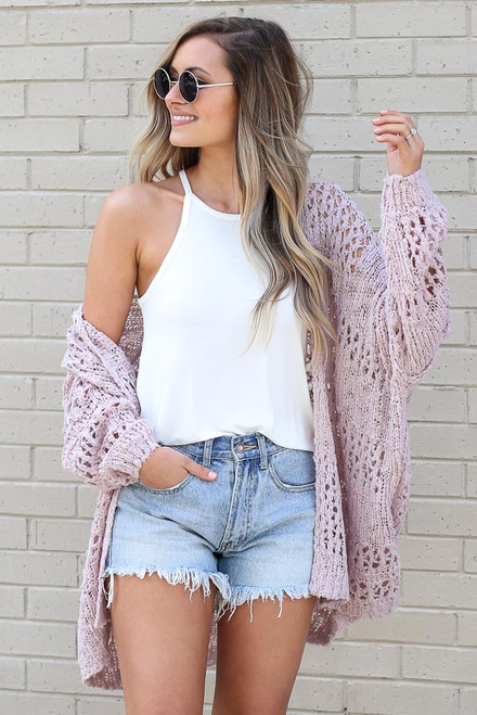 Blush - off the shoulder lightweight knit cardigan