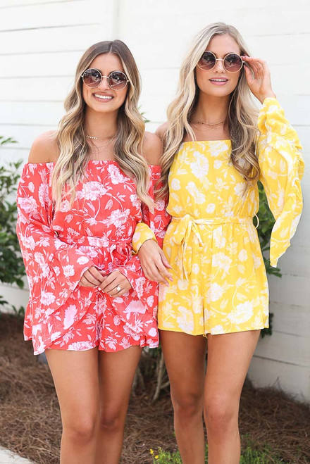 Coral - Floral Bell Sleeve Romper