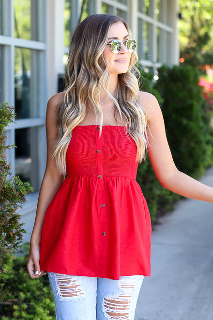 Red - Smocked Button Cami Top from Dress Up