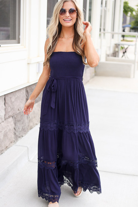 Navy - Smocked Tiered Maxi Dress from Dress Up Boutique
