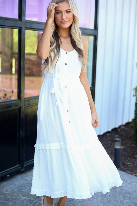 White -  Ruffle Hem Midi Dress