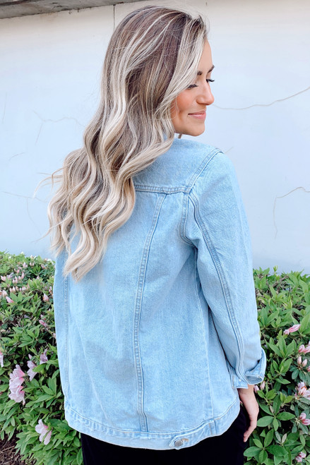 Medium Wash - Back view of Dress Up model wearing a denim jacket