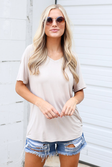 Taupe - Jersey Knit V-Neck Basic Tee