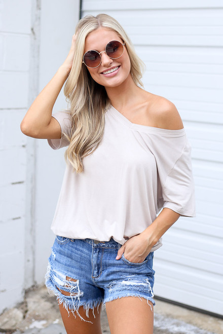 Taupe - Jersey Knit V-Neck Basic Tee from Dress Up