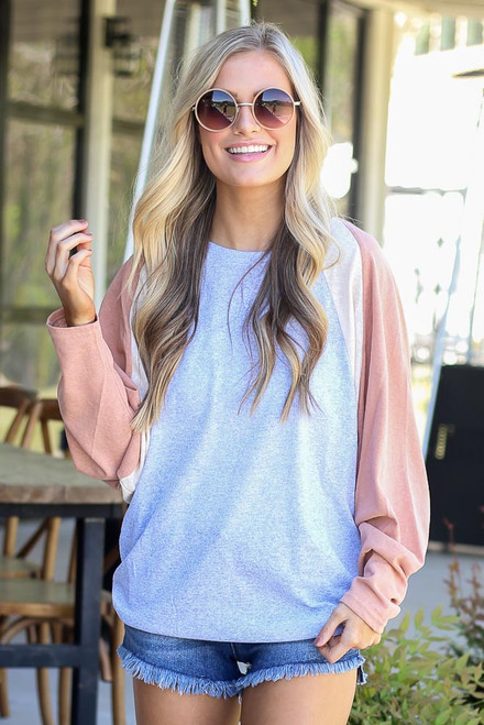 Heather Grey - Oversized Color Block Tee