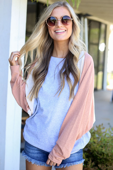Heather Grey - Oversized Color Block Tee from Dress Up