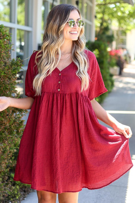 Burgundy - Textured Babydoll Dress from Dress Up