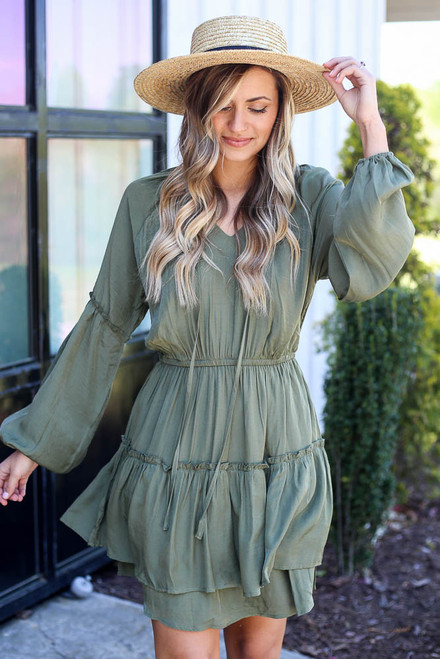 Olive - tiered mini dress
