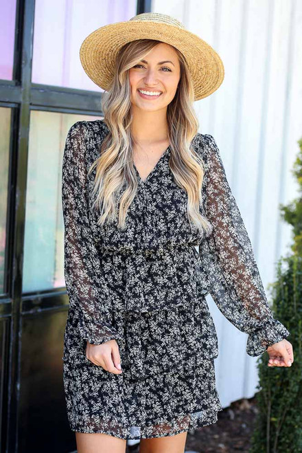 Black - Floral Tiered Dress