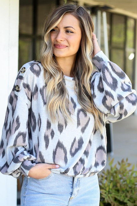 Grey - Button Shoulder Leopard Top from Dress Up Boutique